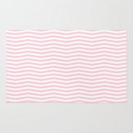Light Soft Pastel Pink and White Chevron Rug