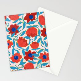 Sunlit Flowers in Red Stationery Cards