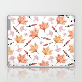 Watercolor background with maple leaves, mushrooms, red flowers Laptop & iPad Skin