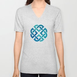 St. Patrick's Day Celtic Blue Knot #2 Unisex V-Neck