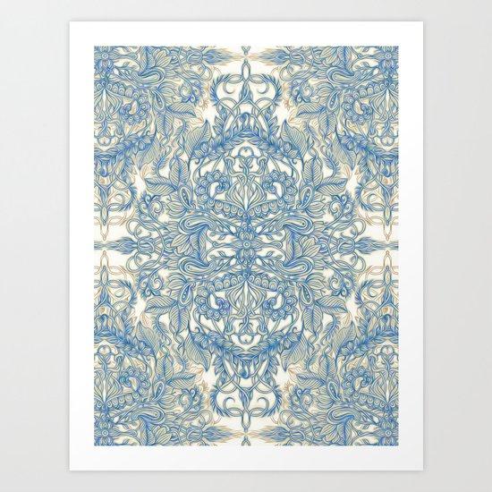 Blue & Tan Art Nouveau Pattern Art Print
