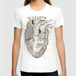 Heart in black and white T-shirt