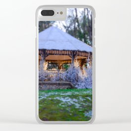 Kiosk in winter Clear iPhone Case