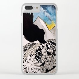 Woman in the Mountains Clear iPhone Case