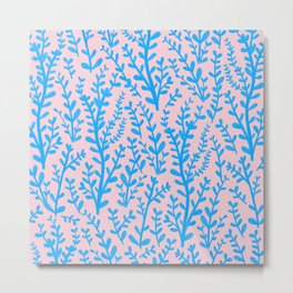 Pastel Pink and Blue Leaves Gouache Pattern Metal Print