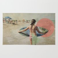surfer Area & Throw Rugs featuring Surfer  by Mary Kilbreath