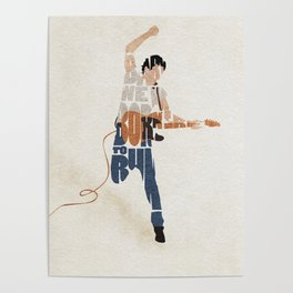 Typography Art of Boss of the Rock Bruce Frederick Springsteen Poster