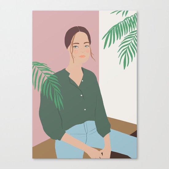 Summer Breeze, girly, fashion illustration, illustration, aloha, summer, tropical, hawaiian art Canvas Print