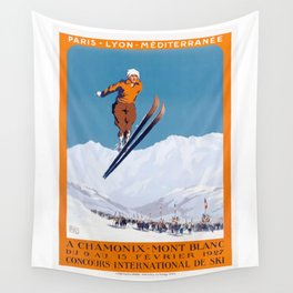 1927 Chamonix - Mont Blanc France Ski Championship Poster Wall Tapestry