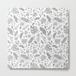 Tropical Leaves in Black and White Metal Print