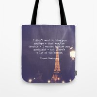 hemingway Tote Bags featuring Hemingway by McQueen Photography