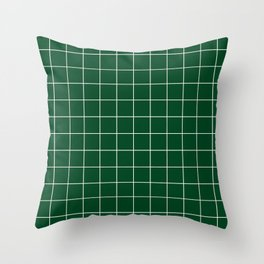 Grid Pattern Forest Green White 014421 Stripe Line Minimal Stripes Lines Spring Summer Throw Pillow