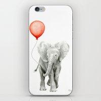 Baby Elephant Watercolor Red Balloon Nursery Decor iPhone & iPod Skin