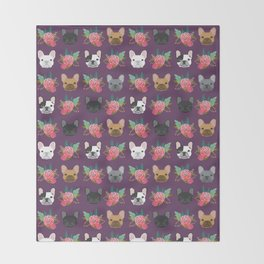 French Bulldog florals cute spring summer dog gifts bright happy frenchie puppy dog portraits  Throw Blanket