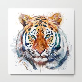 Tiger Head watercolor Metal Print