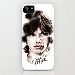 Mick portrait pencil and digital color, Rolling Stones portrait iPhone Case