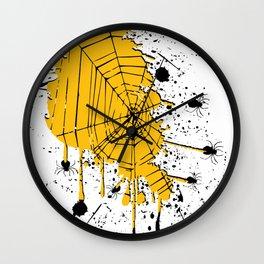 Spiderweb spiders ink splash Wall Clock