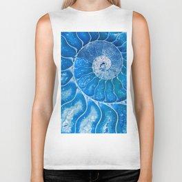 Blue colored Ammonite fossil Biker Tank