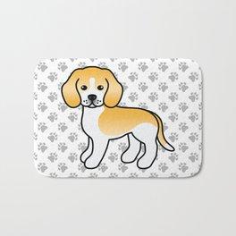 Cute Lemon And White Beagle Dog Cartoon Illustration Bath Mat