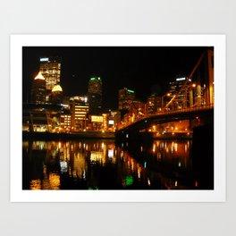 Pittsburgh By Night Art Print