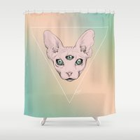 sphynx Shower Curtains featuring SPHYNX. by paintparamore