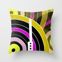 Bright retro records Throw Pillow