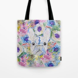 Abstract French bulldog floral watercolor paint Tote Bag