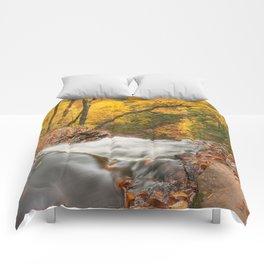 Autumn Waterfall Precipice Comforters