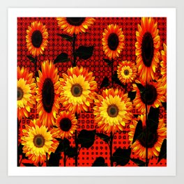 GRAPHIC DARK SUNFLOWERS ON RED COLOR PATTERN Art Print