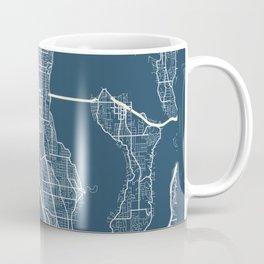 Seattle Blueprint Street Map, Seattle Colour Map Prints Coffee Mug