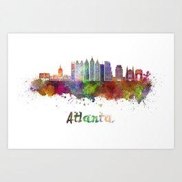 Atlanta V2 skyline in watercolor Art Print
