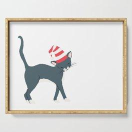 Christmas Cat Santa Elf Hat Illustration Serving Tray