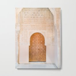 Alhambra door | Granada Spain travel photography | Bright and pastel colored photo art print Metal Print
