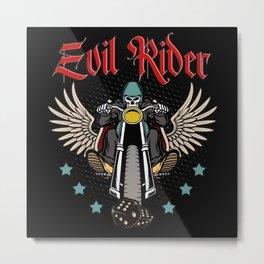 Cool Biker Skull Motorcyclist Gift Metal Print