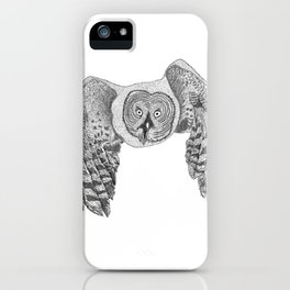 Flying Great Grey Owl iPhone Case