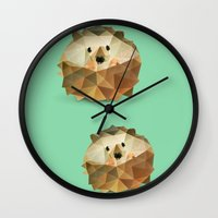 hedgehog Wall Clocks featuring Hedgehog. by Diana D'Achille