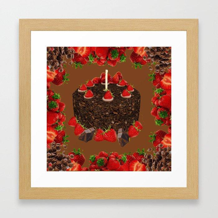 CHOCOLATE STRAWBERRIES BIRTHDAY CAKE Gerahmter Kunstdruck Von Sharlesart