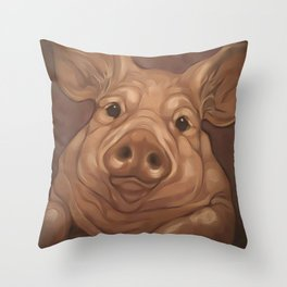 Coversation with a Pig Throw Pillow