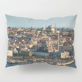 Photo Istanbul Mosque Turkey bridge Houses Cities Bridges Building Pillow Sham