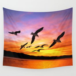 Seagull Sunset Wall Tapestry