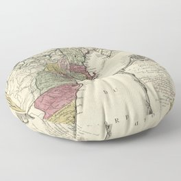Colonial America Map by Matthaus Lotter (1776) Floor Pillow