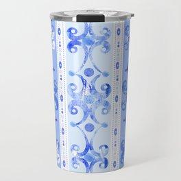 Blue Geometric Scrollwork Travel Mug
