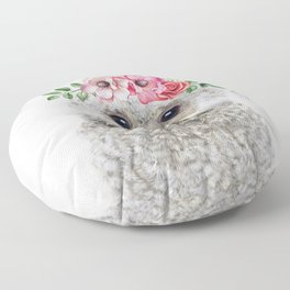 Baby Owl with Flower Crown Floor Pillow