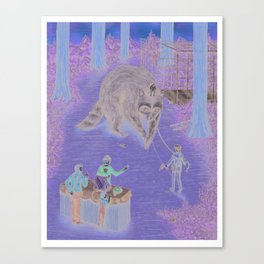 Raccoon Rides! Canvas Print