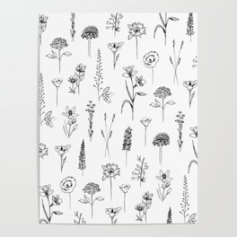 Patagonian wildflowers white Poster