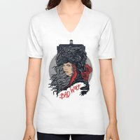 bad wolf V-neck T-shirts featuring Bad Wolf by zerobriant