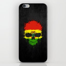 Flag of Bolivia on a Chaotic Splatter Skull iPhone Skin