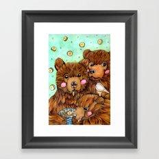 Bears with Porridge Framed Art Print