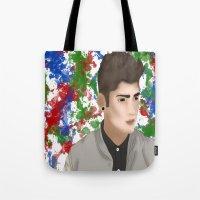 1d Tote Bags featuring Zayn 1D by Maranda Rae