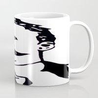 nietzsche Mugs featuring  Friedrich Nietzsche Portrait Black and White Modern Art hand done  by The Odd Portrait